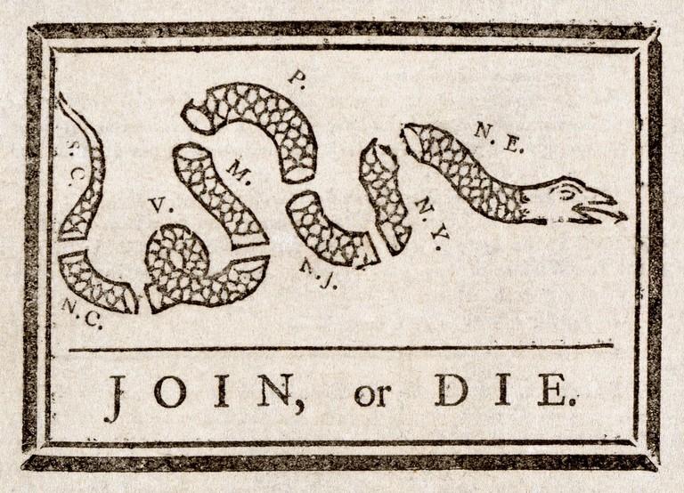 Benjamin Franklin, Join or Die, The Pennsylvania Gazette, 1754   © Adam Cuerden/WikiCommons