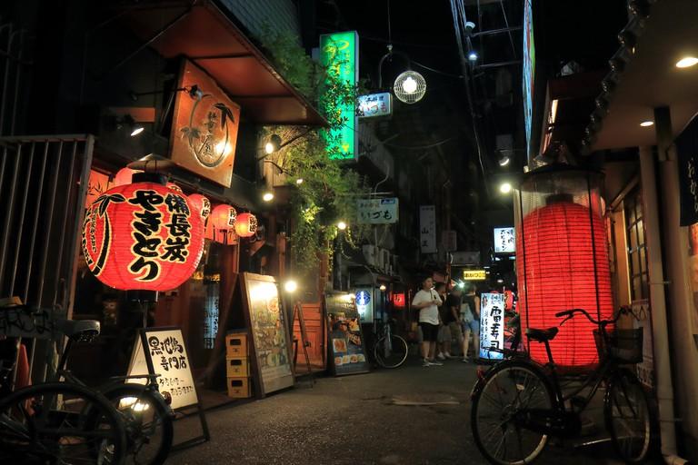 Bars in Osaka downtown Japan.