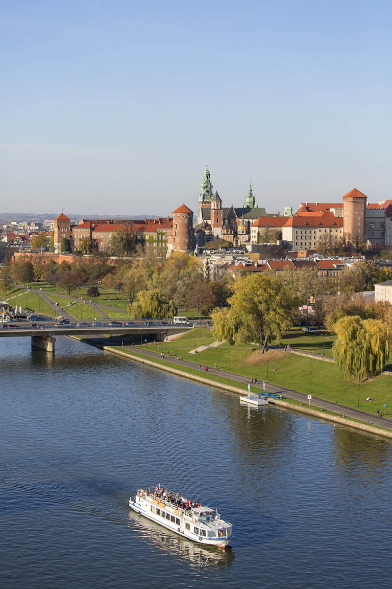Aerial balloon view of the city, Wawel Royal Castle with Wawel Cathedral, Vistula River and Grunwald Bridge, Krakow, Poland