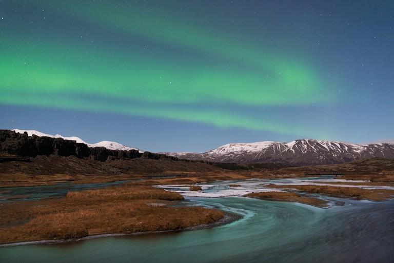 Aurora Borealis over Pingvellir National Park, Iceland