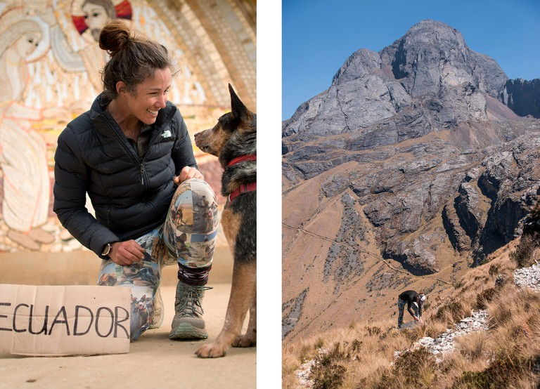 Left: Lucy and Wombat in Ecuador | Right: Qhapaq Ñan (aka Great Incan Trail) Peru, with the 500 year old road in the distance