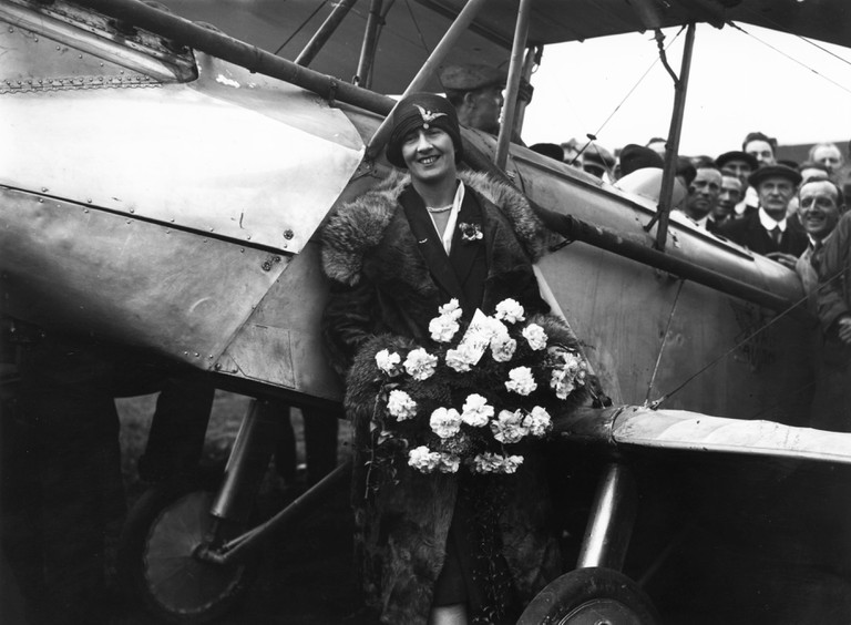 Sophie Mary Heath after landing at Croydon airfield and becoming the first woman to fly from Capetown to Europe, 1928