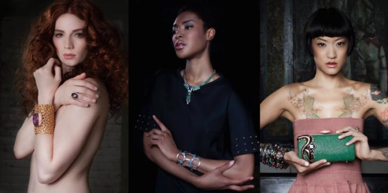 Models showcase jewelry and handbags from HUNTRESS | Courtesy Diane Robinson and Ron LeBlanc
