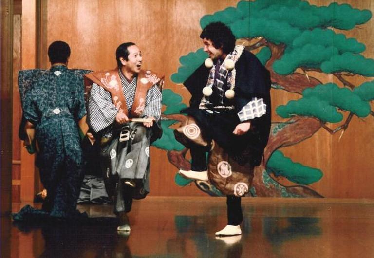 Serper (rt.) playing with Nomura Mansaku in Kyogen play Kagyu, Tokyo, 1982