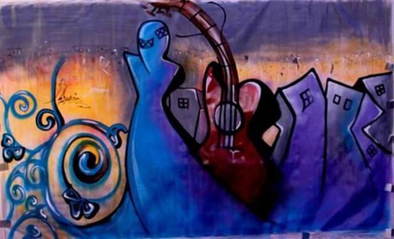 Shamsia Hassani, 'Sound Central Festival', Kabul, 2013. Image courtesy Shamsia Hassani.