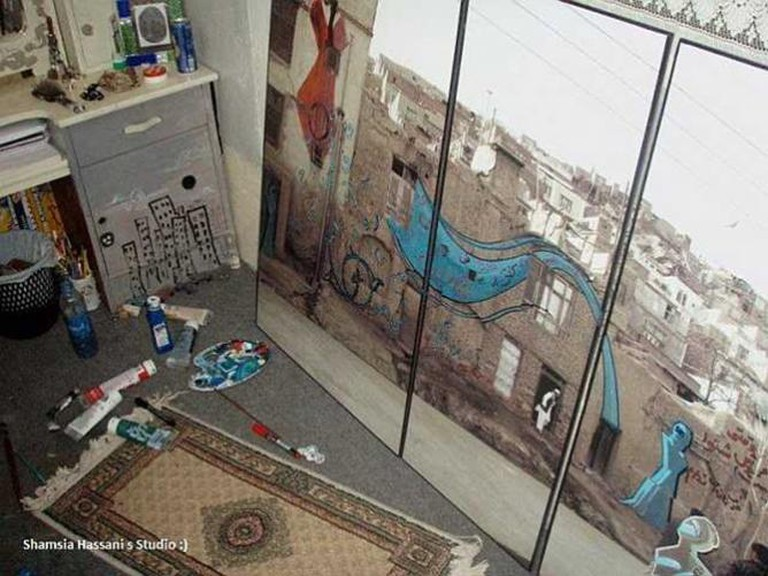 Shamsia Hassani, 'Dreaming Graffiti at Shamsia's Studio,' Kabul. Image courtesy the artist.