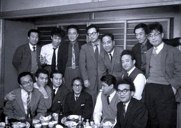 1954, Shūsaku Endō (bottom left) and his contemporaries, including Nobuo Kojima and Junzō Shōno.