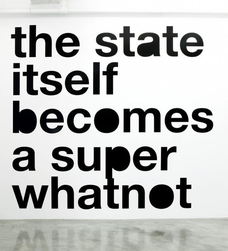 Liam Gillick, 'The State Itself Becomes a Super Whatnot', 2008, vinyl text on wall, Collection: The Museum of Modern Art, New York/Courtesy the artist and Casey Kaplan, NY, Photo: Adam Reich.