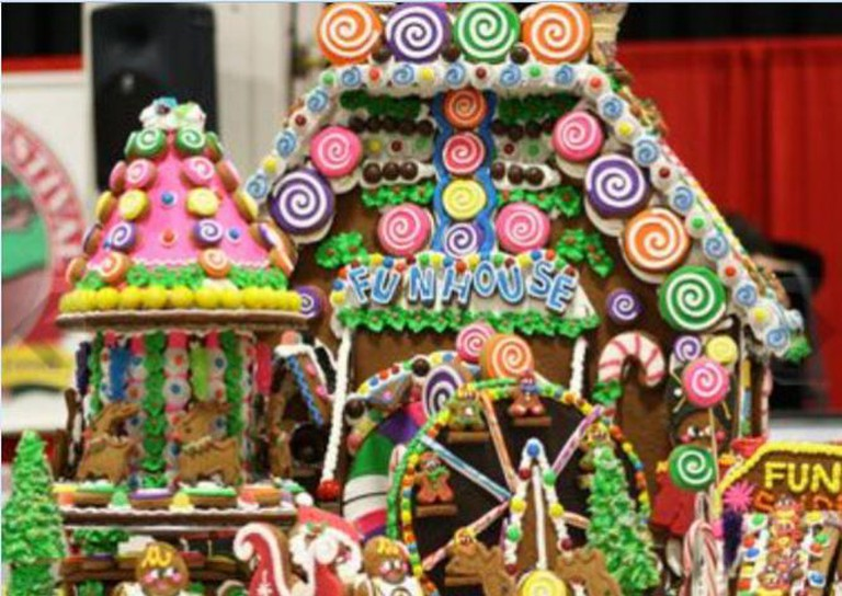 Gingerbread house at Boston Christmas Festival