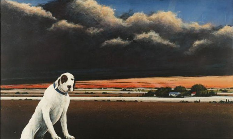 William Dunlap, Flat Out Dog Trot, 1998. mixed mediums on canvas. Gift of John and Melody Maxey