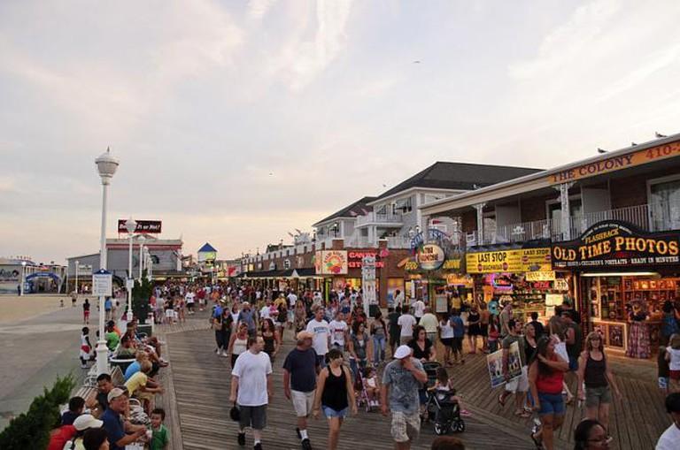The boardwalk of Ocean City, Maryland