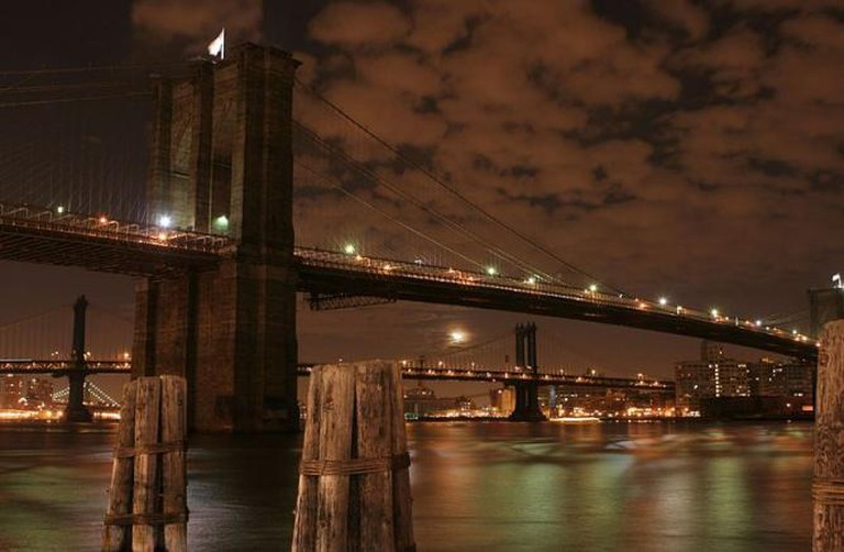Brooklyn bridge at night, New York city, NY.