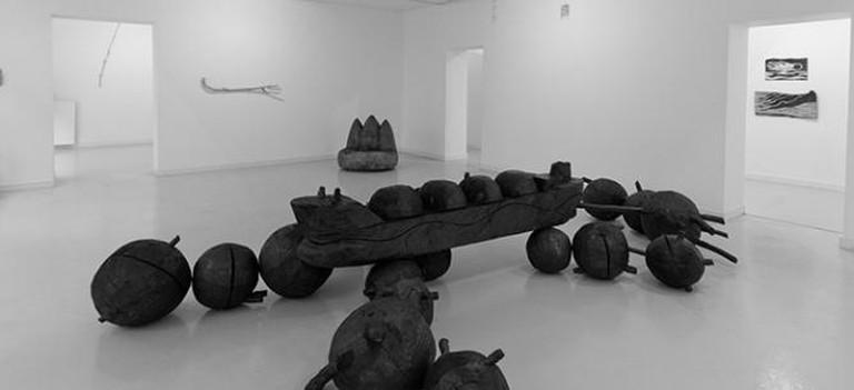 Interior gallery view including Pasi Karjula OHO, 2014, Galleria Ama