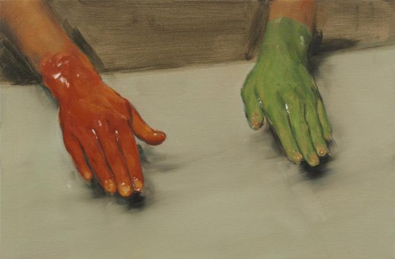 Michaël Borremans, 'Red Hand, Green Hand', (40x60cm, oil on canvas), Zeno X Gallery, 2010 | © Peter Cox, courtesy Zeno X Gallery, Antwerp