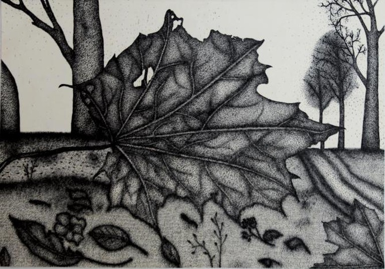 Gintaras Karosas, Autumn, Ink on paper, 29x41 cm