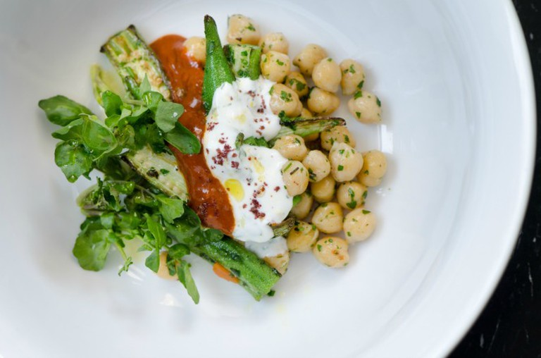 Chickpeas and Okra with Yogurt and Harissa