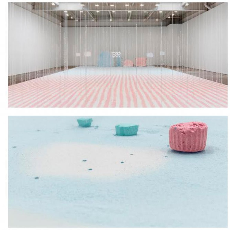 Karla Black, Take Its Place, 2014, plaster powder, powder paint, Sellotape, bath bombs, and nail polish, 1000 x 1700 cm. Installation view of Karla Black's 2014 solo exhibition at David Zwirner, New York. Photo by Maris Hutchinson | Courtesy David Zwirner, New York/London