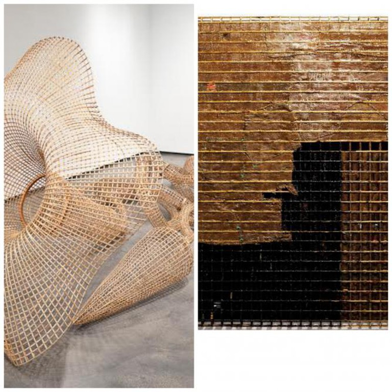 Sopheap Pich, Morning Glory, 2011, rattan, bamboo, wire, plywood, steel bolts, 533 x 262 x 188 cm | Courtesy the artist and Tyler Rollins Fine Art  Sopheap Pich, Barren Land, 2013, bamboo, rattan, wire, burlap, plastics, beeswax, damar resin, synthetic resin, charcoal, 200 x 250 x 8 cm | Courtesy the artist and Tyler Rollins Fine Art