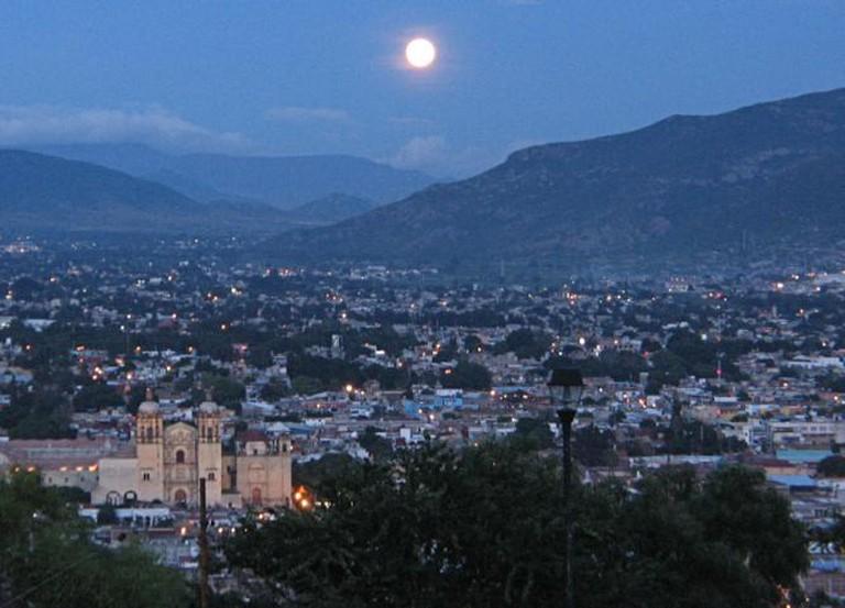Oaxaca de Juarez, Oaxaca, Mexico at night.