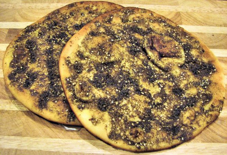 Manakeesh prepared with za'atar © Nsaum75 /Wikipedia