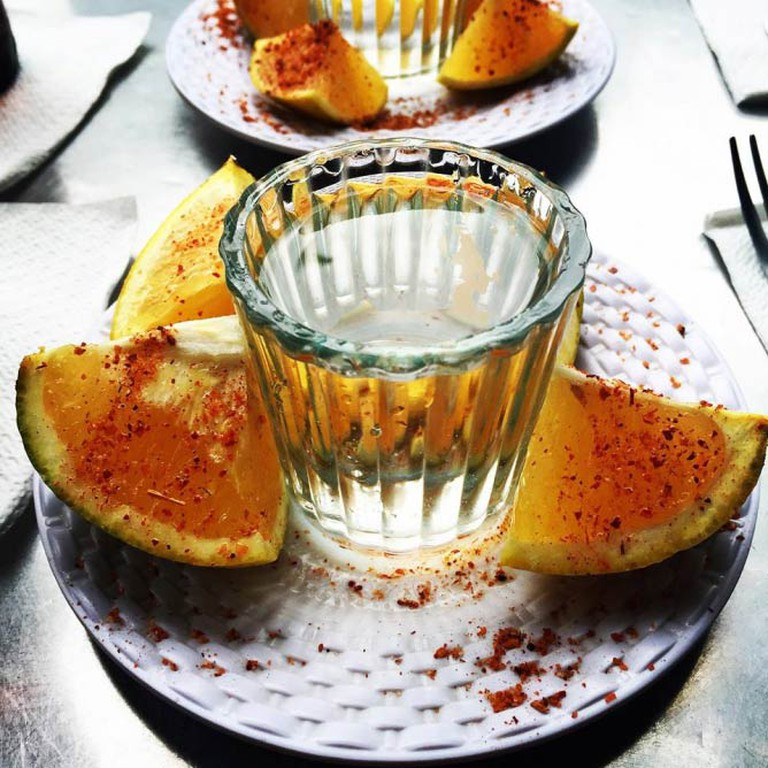 Typical mezcal drinking