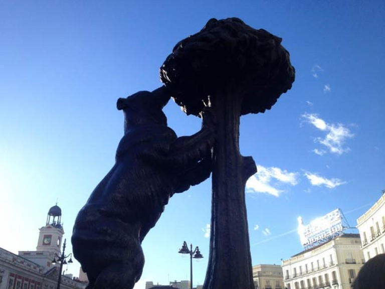 [Photo: The Bear and the Strawberry Tree, Madrid © Rebecca Cairns]