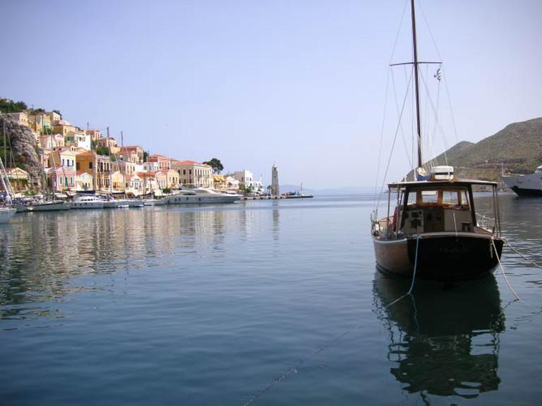 Symi island near Rhodes, harbor of Emborios