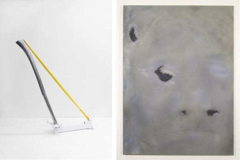 Tao Kulczycki, Resonance, 2015, aluminum (original Didgeridoo), engine stand, strap, 60.5 x 53 x 14 in (Right); Ian Swanson, Aging4, 2014, airbrushed acrylic, graphite on rayon, 62 x 46 in (Left)   Image Courtesy the Artist and BOSI Contemporary.