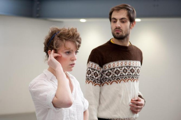 Ablutions rehearsal, Fellswoop Theatre Company, Soho Theatre. Courtesy of Charley Murrell.