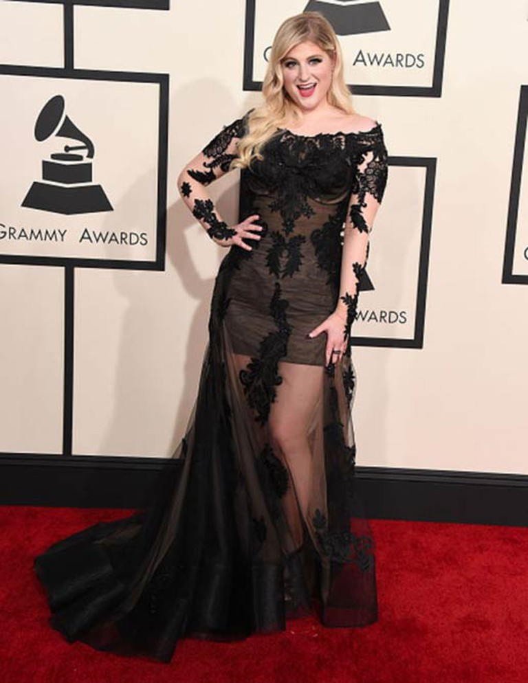 LOS ANGELES, CA - FEBRUARY 08: Meghan Trainor arrives at the The 57th Annual GRAMMY Awards on February 8, 2015 in Los Angeles, California. (Photo by Steve Granitz/WireImage)