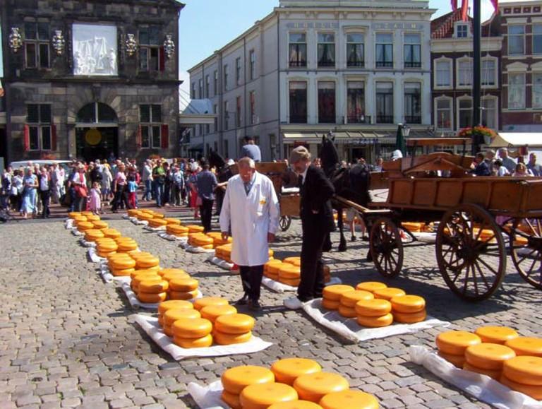 A cheesemarket in Gouda.