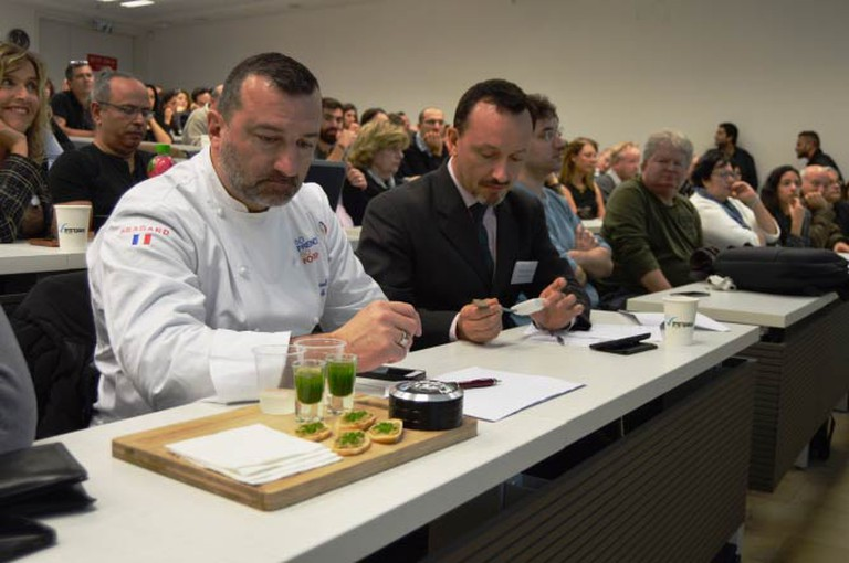 Chef Patrick Paumier, one of the judges, with Green Onyx products. Courtesy of Yael Tamar