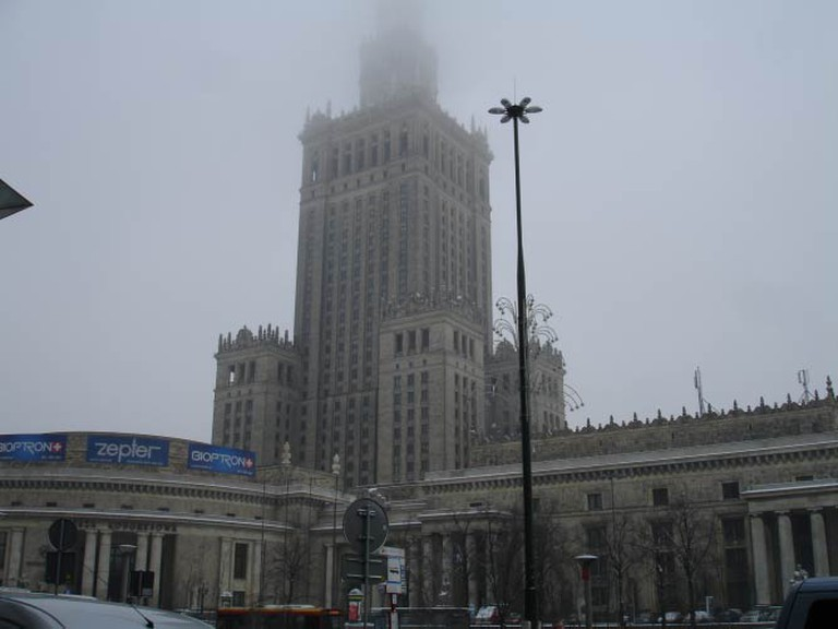 The Palace of Science and Culture, disappearing into the fog | © Lani Seelinger