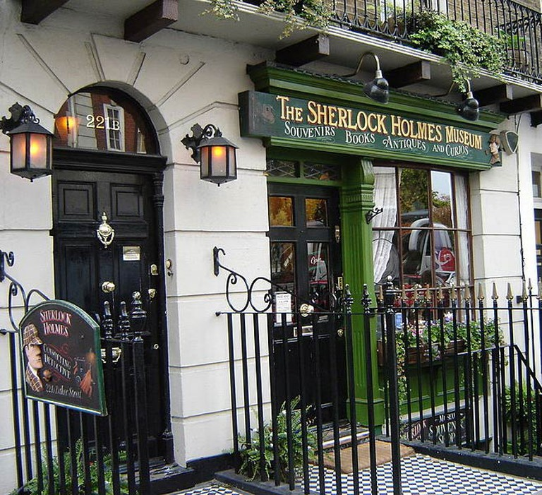 Exterior of Sherlock Holmes Museum, Includes 221b door and shop sign