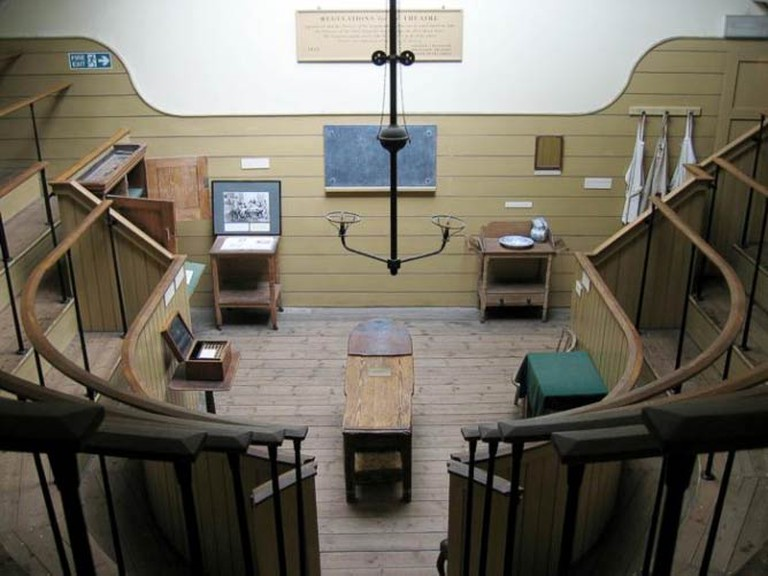 Interior of Old Operating Theatre, view from the top of stairs over the old surgery