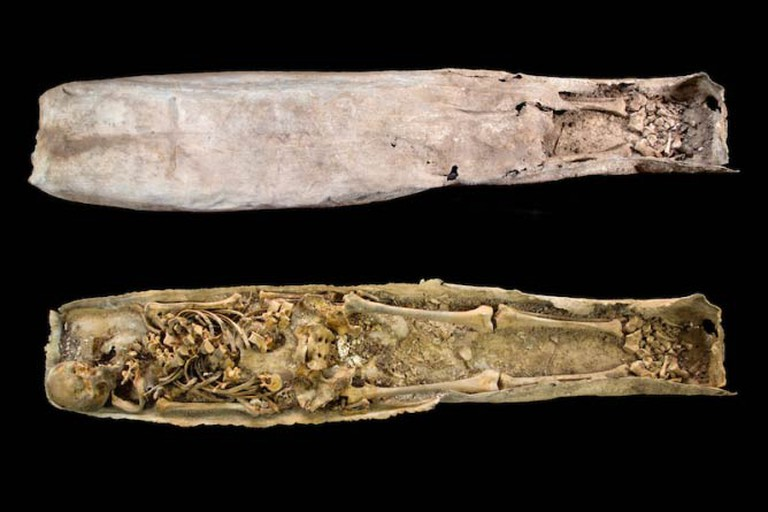 The lead coffin was found inside a stone sarcophagus before being examined in a laboratory