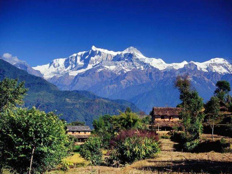 A village in Gandaki, Annapurna Range, Nepal.