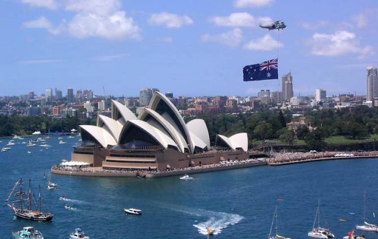 Sydney Opera House on Australia Day.