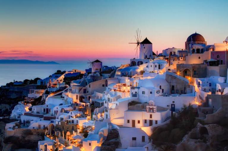 Sunset in Oia, Santorini, Greece.