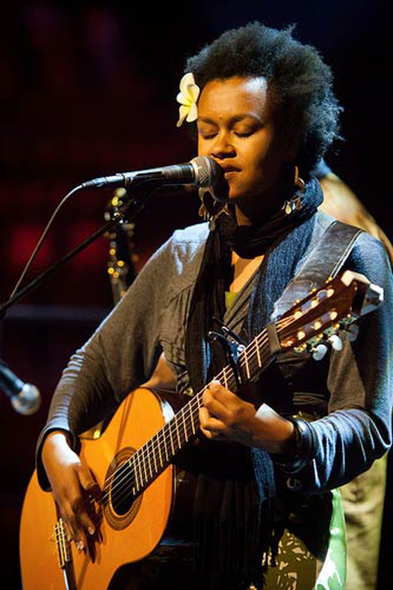 Meklit Hadero performing in Oakland, California