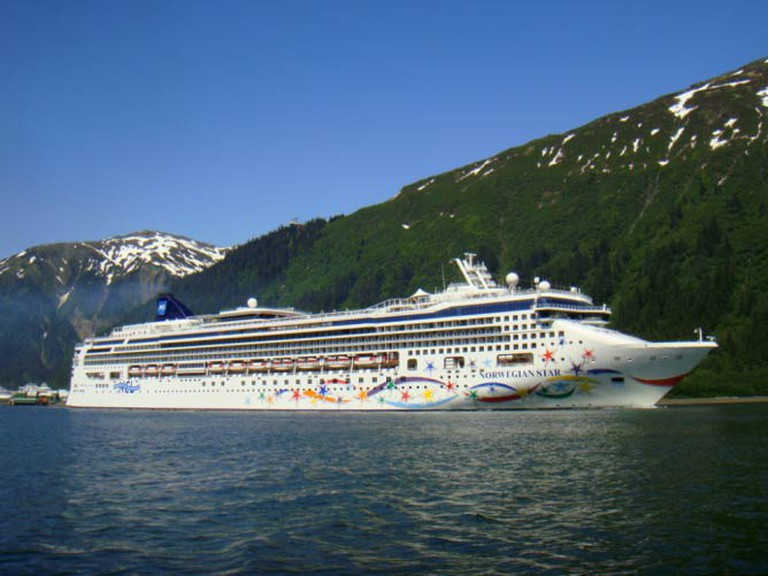 A cruise ship docked in Juneau