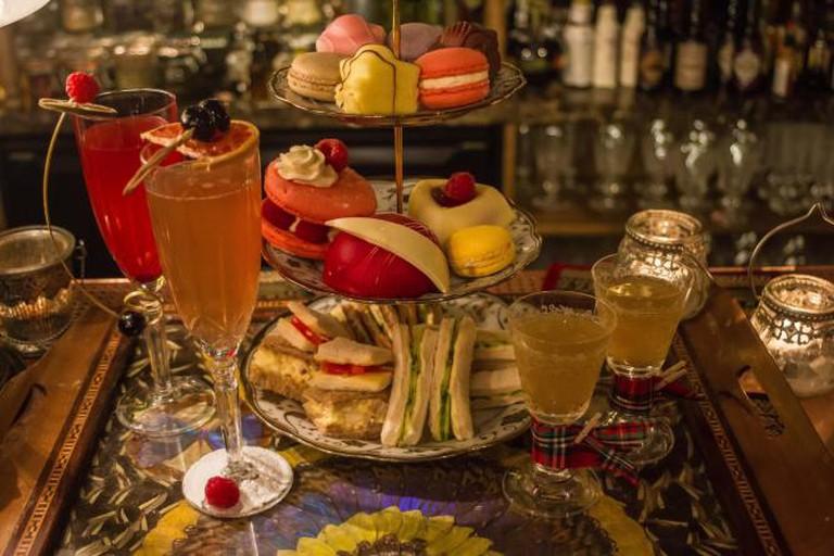 Mr Fogg's Tipsy Tea Ruinart Champagne Cocktails. © LeahBenrimoj/MrFogg's