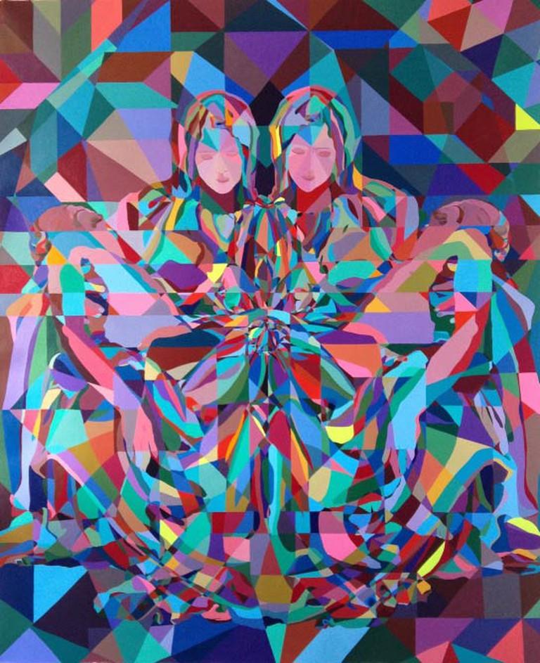 C. Finley Double Pieta 72x59in Acrylic on canvas 2014