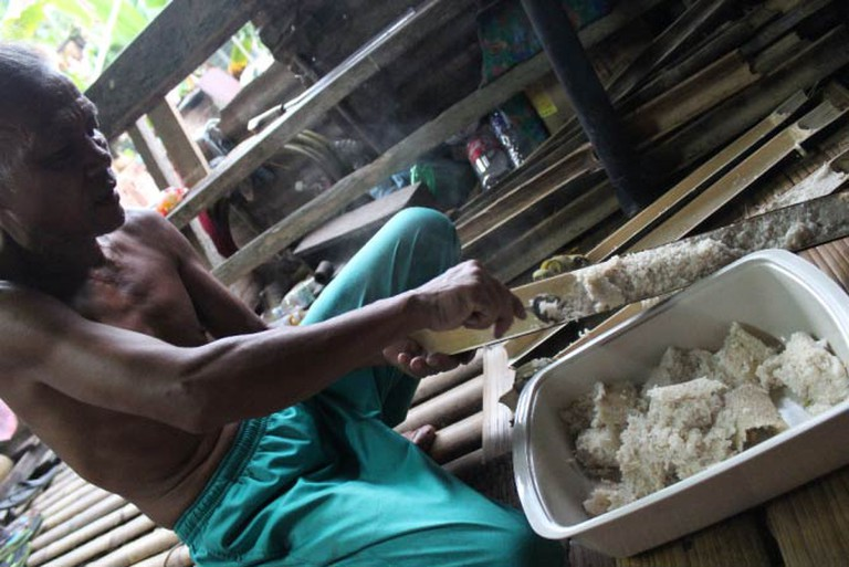 Cooking Rice in Bamboo Sticks, Sarawak