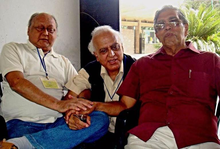 Jayanta Mahapatra with Sitakanta Mahapatra & Abhi Subedi