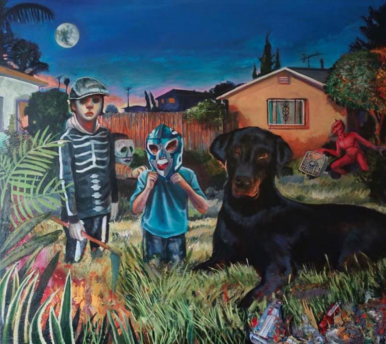 Jardín De El Diablo (A Bad Boy's Lullaby). Oil w/ mix-media on panel, 48 x 44 in., 2013-14.