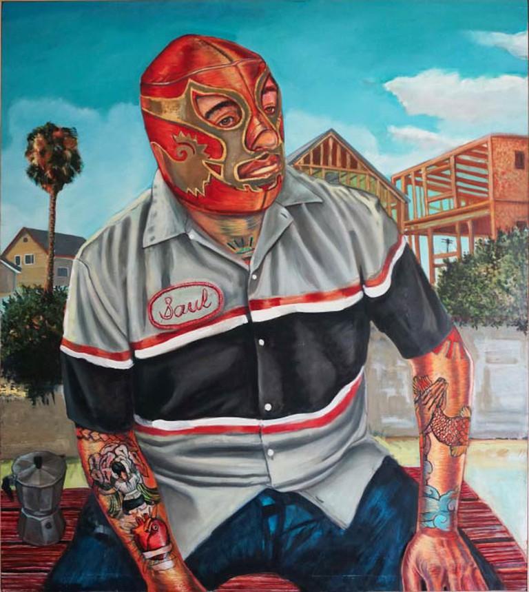 Saul as Canek con Café. Oil w/ egg tempera on panel, 42 x 48.5 in., 2013-14.