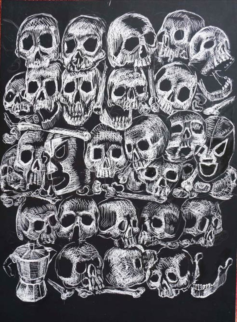 Don't Hide Our Bones. Scratchboard drawing, 9 x 12 in., 2015.