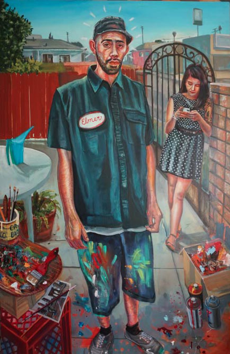 Young Artist. Oil w/egg tempera on panel, 36 x 54 in., 2014.