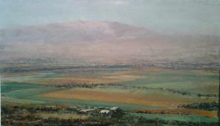 This image shows a painting of the Hula Valley painted by Uri Blayer.